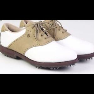 NEW FootJoy Greenjoys White Tan Golf Shoes Cleats